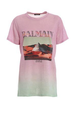 T-shirt in lino rosa sfumato RF01594I135QAE BALMAIN | 8 | RF01594I135QAE