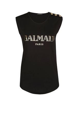 Balmain black cotton jersey tank top BALMAIN | 40 | RF11075I042EAD