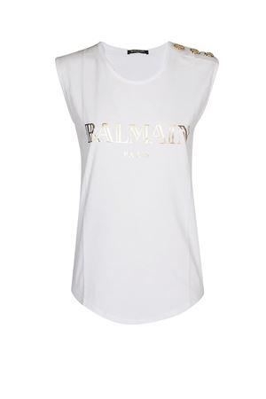 Canotta Balmain bianca in jersey di cotone RF11075I042GAD BALMAIN | 40 | RF11075I042GAD