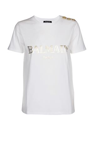 Balmain white cotton jersey T-shirt BALMAIN | 8 | RF11077I042GAD