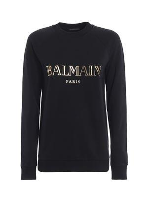 Felpa girocollo nera e oro con logo Balmain RF13735I044EAD BALMAIN | -108764232 | RF13735I044EAD