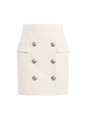 White natte cotton high waist mini skirt