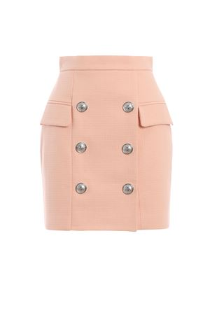 Pink natte cotton high waist mini skirt BALMAIN | 15 | RF14204C0322FB