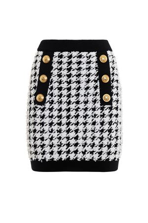 Houndstooth stretch jersey mini skirt 