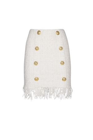 Fringed hem white tweed skirt 