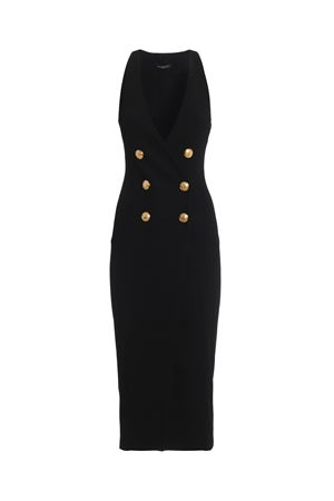 Double-breasted sleeveless black dress 