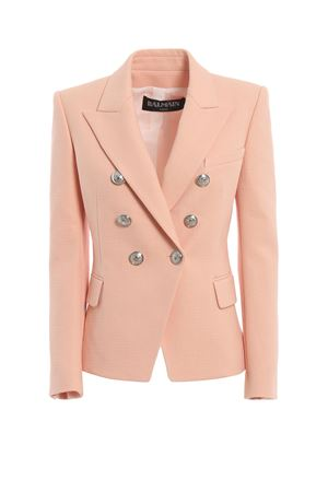 Cotton natte double-breasted pink blazer