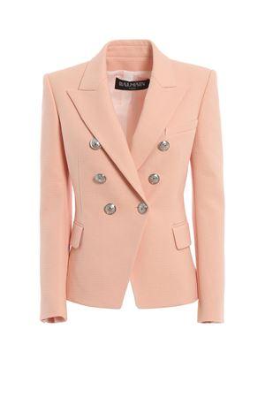 Blazer doppiopetto rosa in cotone natté RF17202C0322FB BALMAIN | 3 | RF17202C0322FB