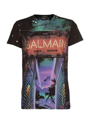 Cuba print drilled jersey T-shirt BALMAIN | 8 | RH11601I053AAA
