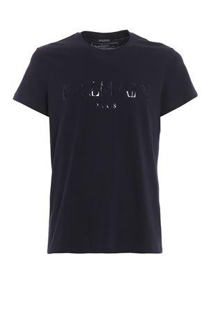 Balmain print blue slim T-shirt BALMAIN | 8 | RH11601I0556UB