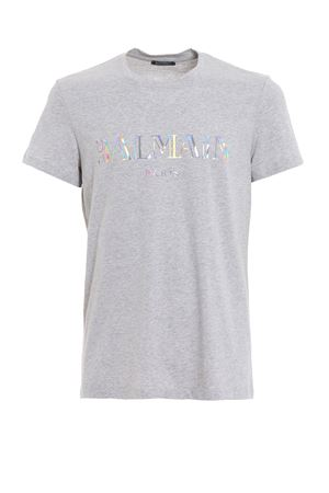 T-shirt grigia con stampa Balmain olografica RH11601I0569AA BALMAIN | 8 | RH11601I0569AA