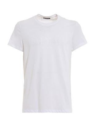 Balmain print white slim T-shirt  BALMAIN | 8 | RH11601I058OFA