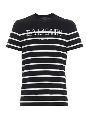 Striped Balmain print slim T-shirt  BALMAIN | 8 | RH11601I059EAB