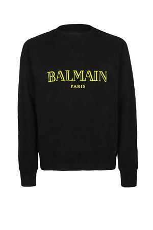 Yellow Balmain logo black sweatshirt BALMAIN | 7 | RH11679I052OPA