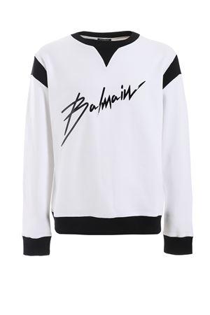 Contrasting Balmain logo print sweatshirt  BALMAIN | 7 | RH13153J049GAB