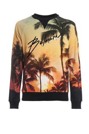 Felpa con stampa Palm Sunset e logo Balmain RH13281I029AAA BALMAIN | 7 | RH13281I029AAA