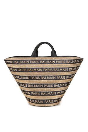 Borsa a cestino in rafia con logo Balmain RN1S040TRRGGBA BALMAIN | 5032265 | RN1S040TRRGGBA