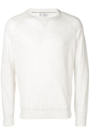 Maglione di lino bianco grigio da uomo manica lunga BRUNELLO CUCINELLI | 7 | M2L12600CJ559