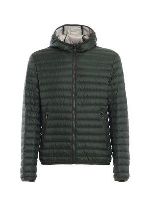 Hooded green Punk puffer jacket 