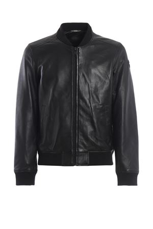 Creation black leather bomber jacket
