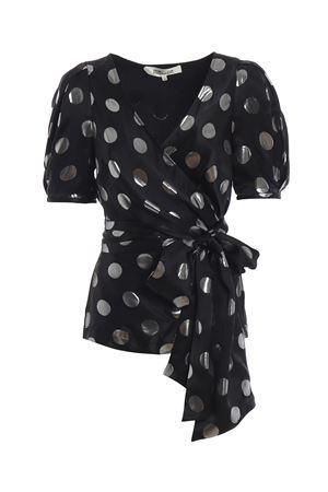Larryn polka dot silk jacquard blouse DIANE VON FURSTENBERG | 40 | 12452BLKSV