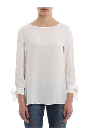 White silk blend loose blouse