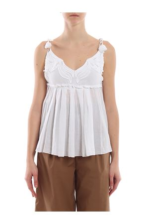 Self-tie shoulder strap cotton top