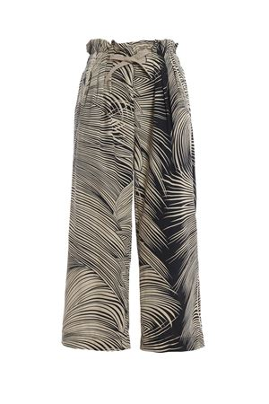 Iole leaf print two-tone cotton trousers DONDUP | 20000005 | DP422FF0328DXXXPDD999
