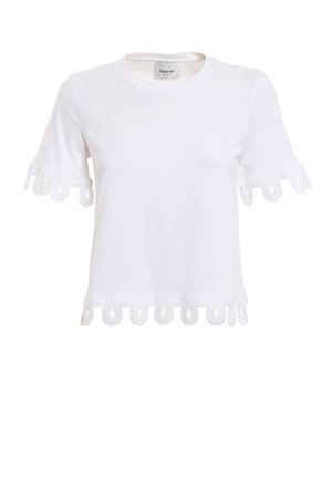 Laced edges crew neck white T-shirt