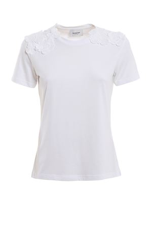 Laced edge white crew neck T-shirt DONDUP | 8 | S760JS0212PRM1PDD000