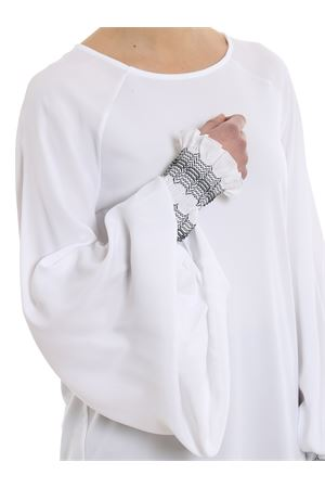 Embroidered puffed sleeve blouse