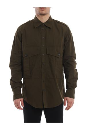 Epaulettes army green cotton shirt