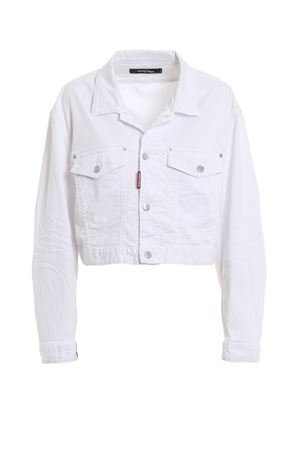 White cotton denim cropped jacket