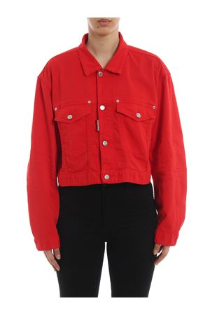 Red cotton denim cropped jacket S75AM0629S44531309