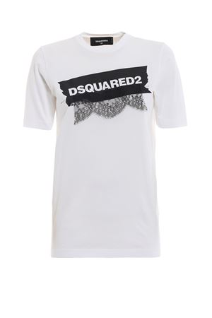White cotton T-shirt with lace and logo print DSQUARED2 | 8 | S75GC0981S22427100