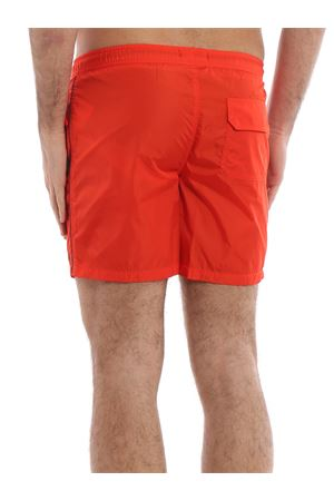 Orange semi glossy nylon swim shorts 