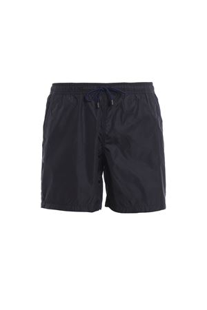 Blue semi glossy nylon swim shorts 
