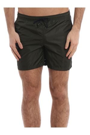 Army green semi glossy nylon swim shorts 