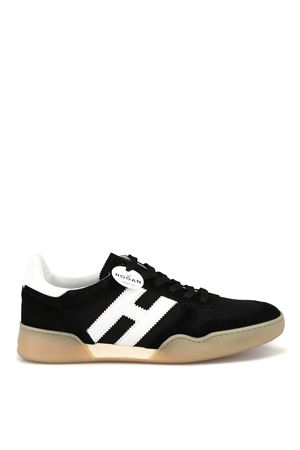 Black nubuck and tech fabric sporty sneakers 