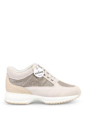 Interactive beige suede and lurex sneakers HOGAN | 120000001 | HXW00N00E10KFI0QCA