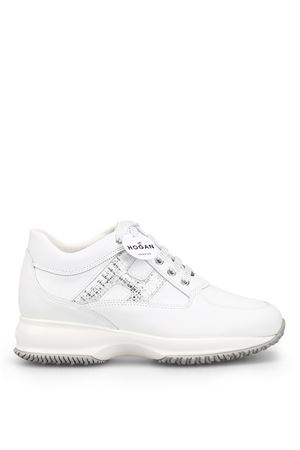Interactive laminated H white leather sneaker HOGAN scarpe | 120000001 | HXW00N0S361KJT0351