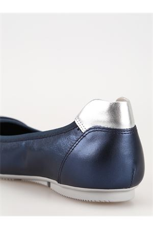 Wrap-H144 blue leather flats 
