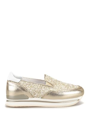 H222 gold leather and glitter slip-ons