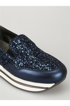 H222 leather and glitter slip-ons