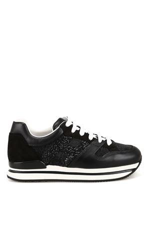Sneaker H222 nere in pelle e tessuto glitter HXW2220U352KGAB999 HOGAN | 120000001 | HXW2220U352KGAB999