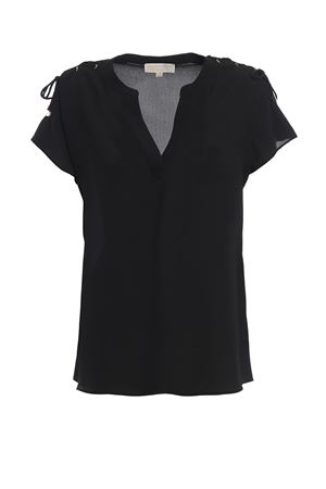 Black crepe blouse with laces MICHAEL DI MICHAEL KORS | 40 | MH84LNT4YP001