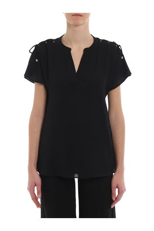 Black crepe blouse with laces 