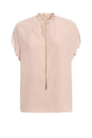 Silk crepe blouse with chain and eyelets MICHAEL DI MICHAEL KORS | 40 | MU84LK996K696