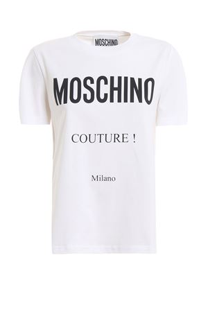 Logo print white cotton T-shirt MOSCHINO | 8 | 07030540A2001