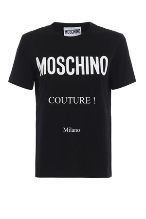 Logo print black cotton T-shirt 